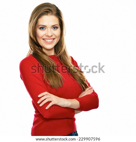 smiling woman in red posing against white background. studio isolated. long hair. - stock photo