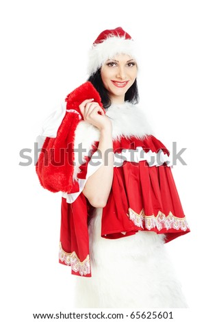 Smiling woman in Santa Claus costume holding red bag with gifts on a white background
