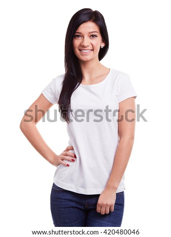 Smiling woman in white t-shirt on white background - stock photo