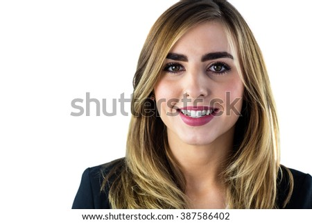 Smiling woman looking at camera on white screen