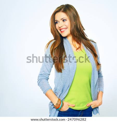 Smiling woman looking side. white background isolated portrait. - stock photo