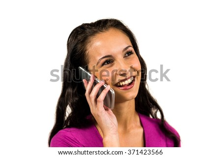 Smiling woman on a phone call on white screen