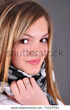 Smiling Woman on grey background