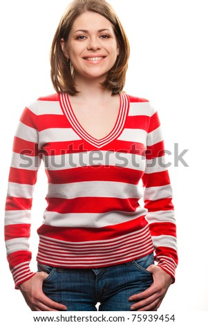 Smiling woman on white background.