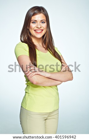 Smiling woman portrait isolated on white background. Casual dressed happy girl with long hair. - stock photo