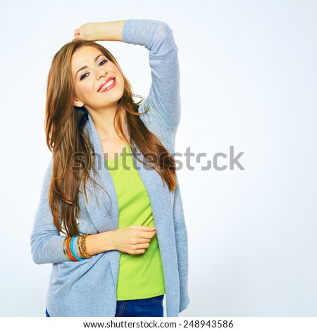Smiling woman portrait isolated on white background. Teeth smile. Young model with long hair. - stock photo