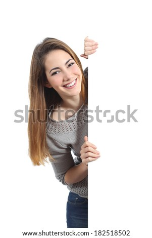 Smiling woman presenting and holding a blank sign isolated on a white background               - stock photo