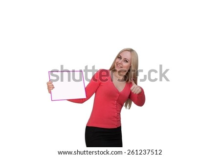 Smiling woman showing blank poster billboard. Portrait of beautiful charming woman with smile holding up a blank white sign for your attention isolated on white background - stock photo