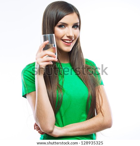 Smiling woman water glass drink. white background isolated .