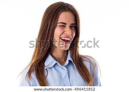 Smiling woman winking
