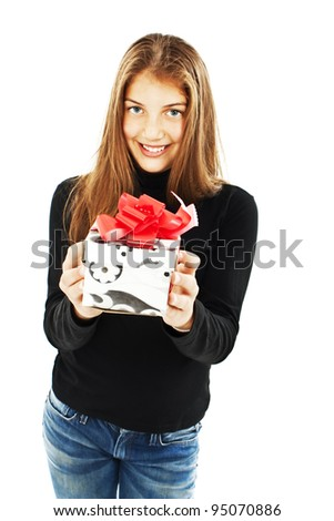 Smiling woman with a gift box. Isolated on white background. - stock photo