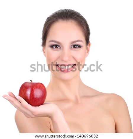 Smiling woman with apple isolated on white