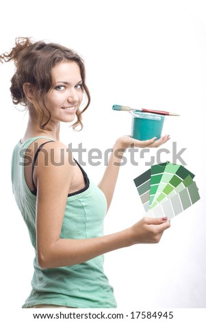 smiling woman with can, brush and palette - stock photo