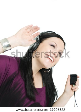 smiling woman with headphones and radio listening music