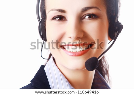 Smiling woman with headphones isolated - stock photo