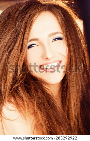 Smiling Woman with Red Hair - stock photo