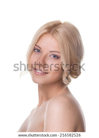 Smiling women with blond hair - stock photo