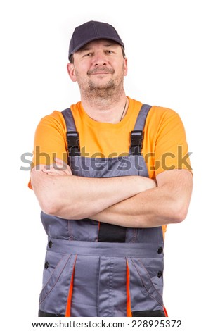 Smiling worker. Isolated on a white background.