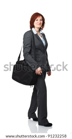 smiling worker walk with laptop bag