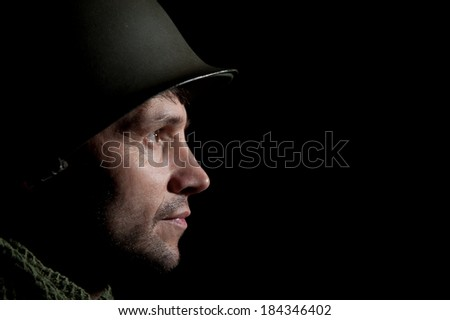 Smiling WW2 American Soldier  - stock photo