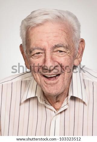 Smiling 90 year old elder senior handsome man portrait - stock photo