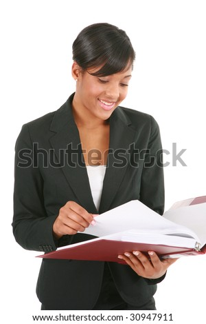 Smiling Young African American Businesswoman Reading Report on Isolated White Background