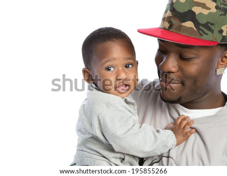 Smiling Young African American Father Holding One Year Old Baby Boy Closeup Portrait Isolated on White Background - stock photo