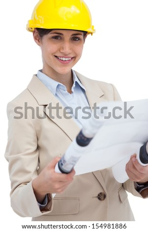 Smiling young architect on white background  holding plan