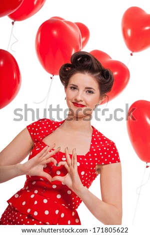 smiling young attractive girl woman with red lips hearts valentines day isolated love