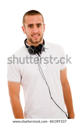 Smiling young boy with headphones around his neck, isolated on white - stock photo