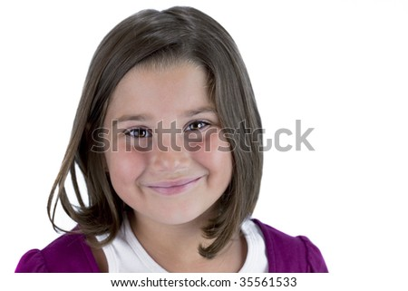 Smiling young brown eyed brunette girl in purple with missing teeth  isolated on white