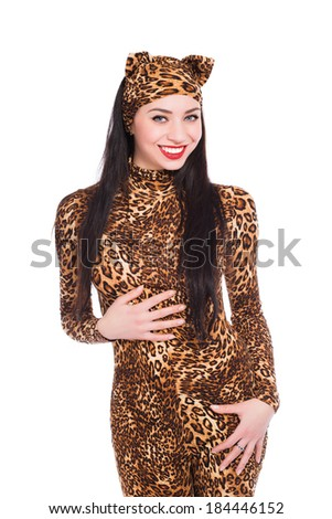 Smiling young brunette wearing like a leopard. Isolated on white - stock photo