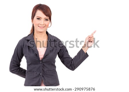 smiling young business woman hand point . suggest work. presentation
