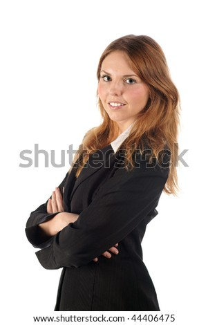 Smiling young business woman in black coat - stock photo
