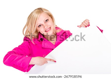 Smiling young business woman showing blank signboard, over white background isolated - stock photo