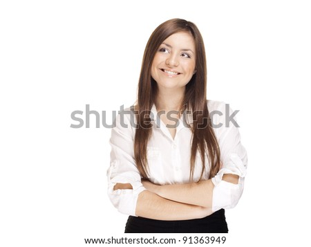 smiling young business woman , solated over white background , looking at left corner