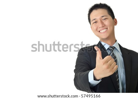 Smiling young businessman give you a excellent sin with copyspace on white. - stock photo