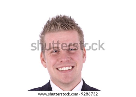 Smiling Young Businessman Isolated against White background