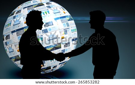Smiling young businessmen shaking hands in office against screen sphere showing business advertisement - stock photo