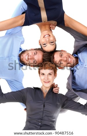 Smiling young businesspeople standing embracing, view from below.?