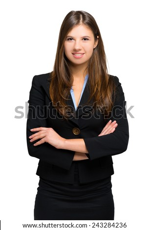 Smiling young businesswoman isolated on white