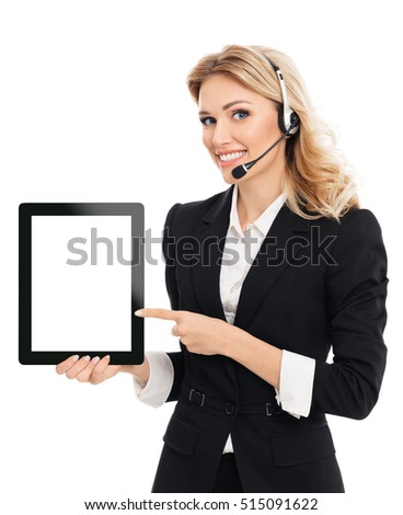 Smiling young businesswoman showing blank no-name tablet pc monitor with copyspace area for slogan or text message, isolated on white background. Caucasian blond model in business concept shoot.