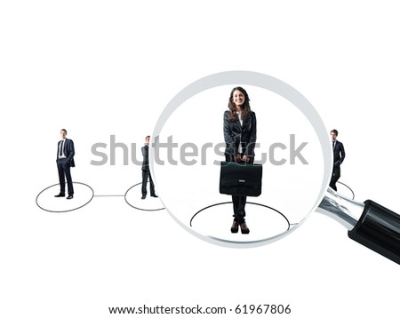 smiling young businesswoman was choise for a job - stock photo