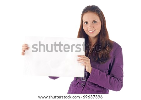 Smiling young businesswoman with clean sign - stock photo