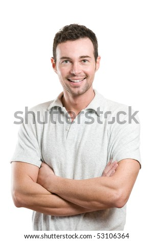 Smiling young casual man looking at camera with joy and confidence, isolated on white background - stock photo
