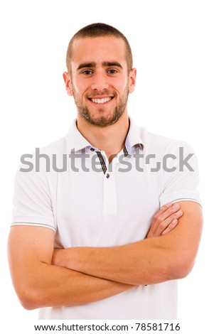 smiling young casual man portrait, isolated on white - stock photo