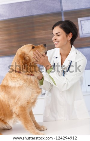 Smiling young female veterinary with golden retriever at clinic. - stock photo