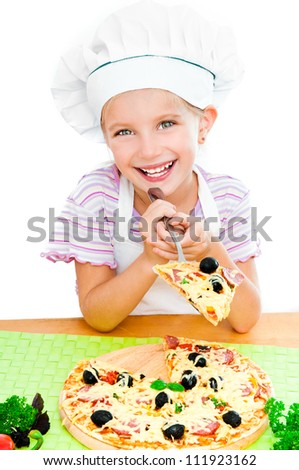 Smiling young girl with a pizza on a white background - stock photo