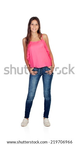 Smiling young girl with jeans standing isolated on a white background - stock photo