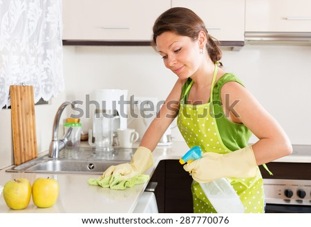 Smiling  young housewife cleaning furniture in kitchen - stock photo